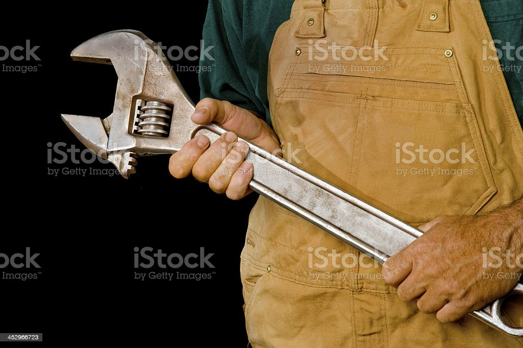Worker with Large Wrench royalty-free stock photo