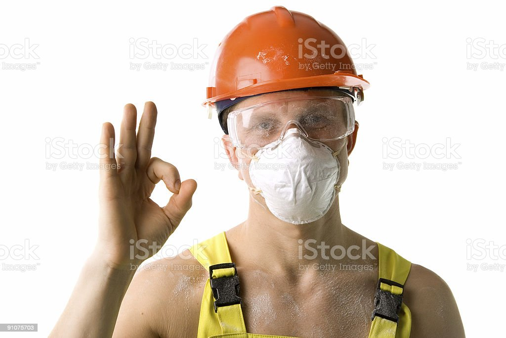 Worker with ok royalty-free stock photo