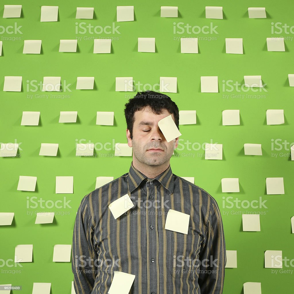 worker with post-it royalty-free stock photo