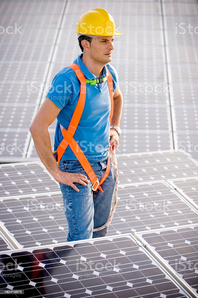 Worker with protective gear royalty-free stock photo