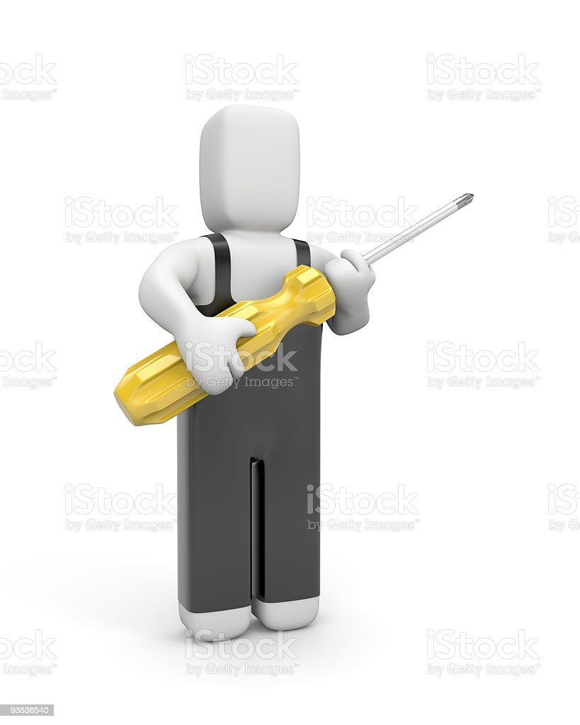 Worker with screwdriver royalty-free stock photo