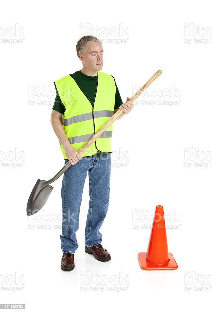 Worker With Shovel royalty-free stock photo