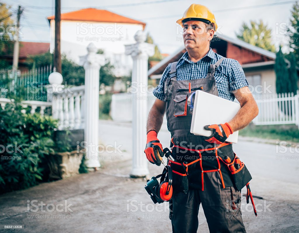 Worker with tool stock photo