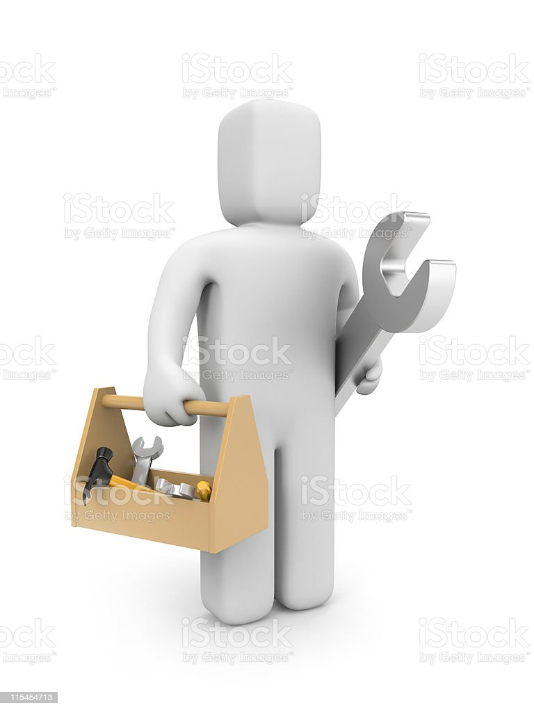Worker with toolbox royalty-free stock photo