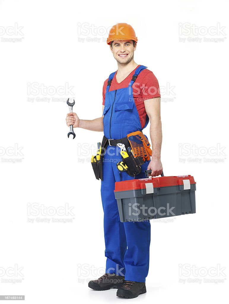 Worker with tools full portrait isolated royalty-free stock photo