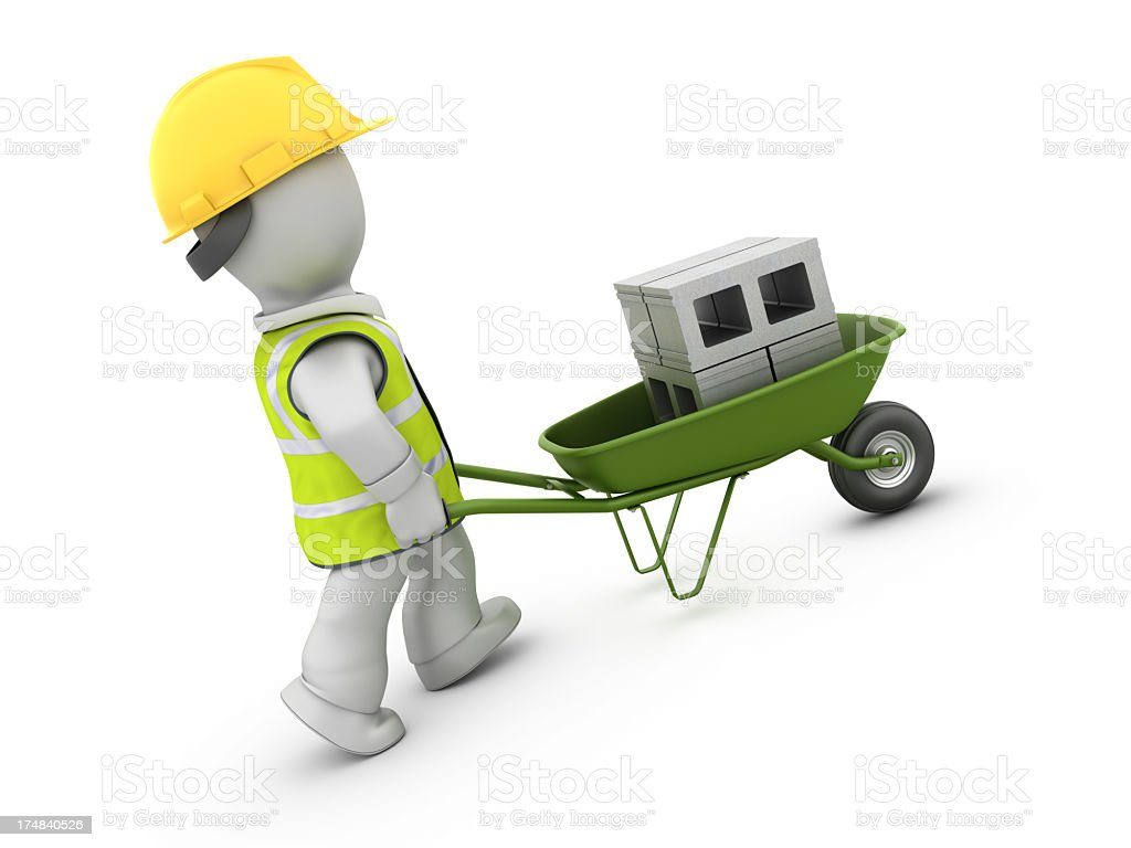 Worker with Wheelbarrow and Concrete Blocks royalty-free stock photo