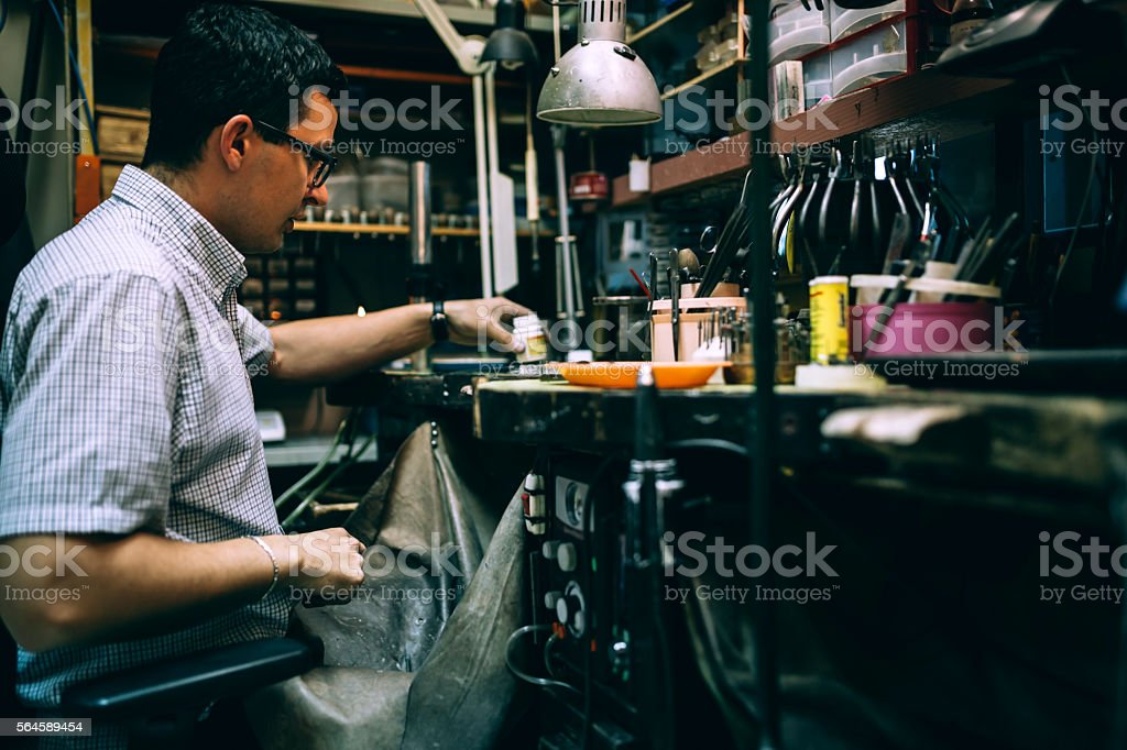 Worker working in workshop stock photo