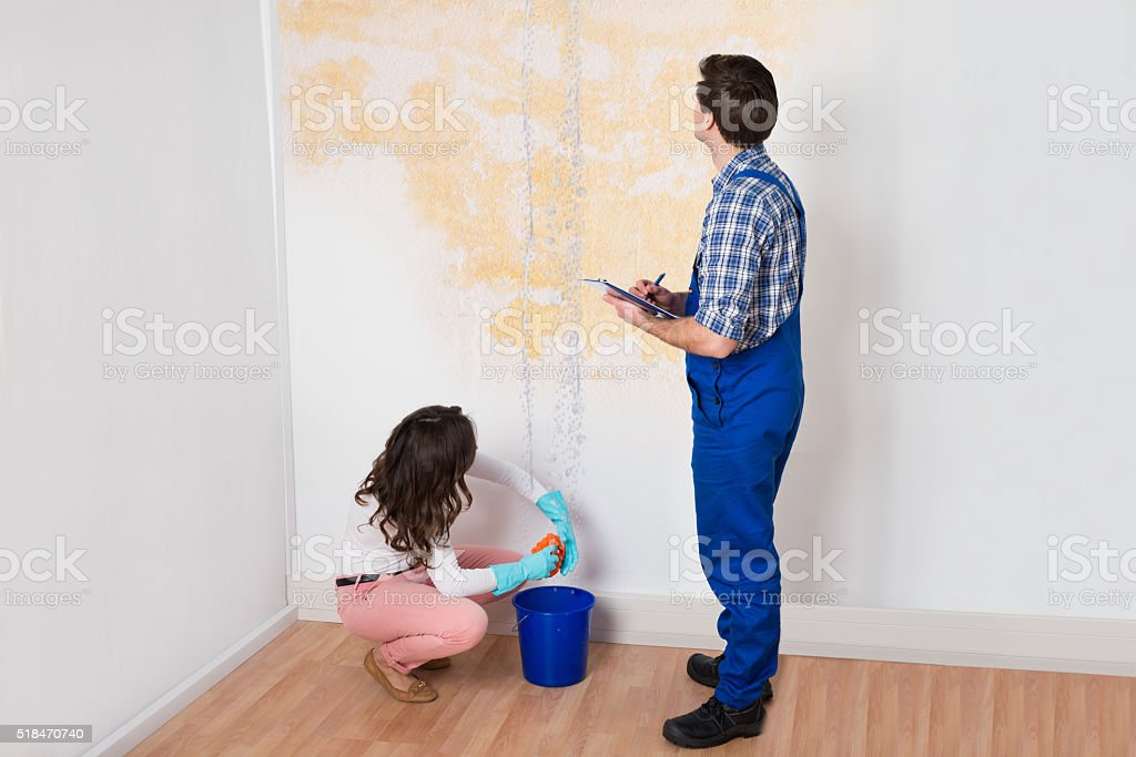Worker Writing On Clipboard While Woman Squeezing Cloth stock photo