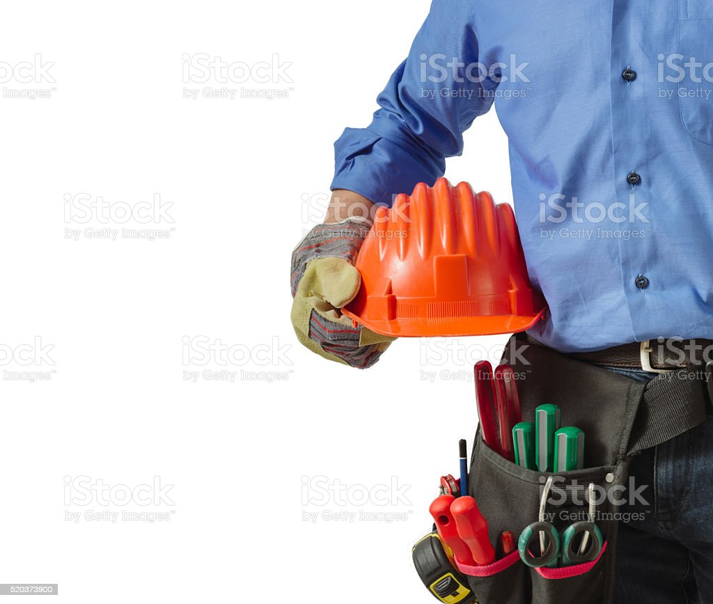 Workerin uniform holding tools, close up view. stock photo