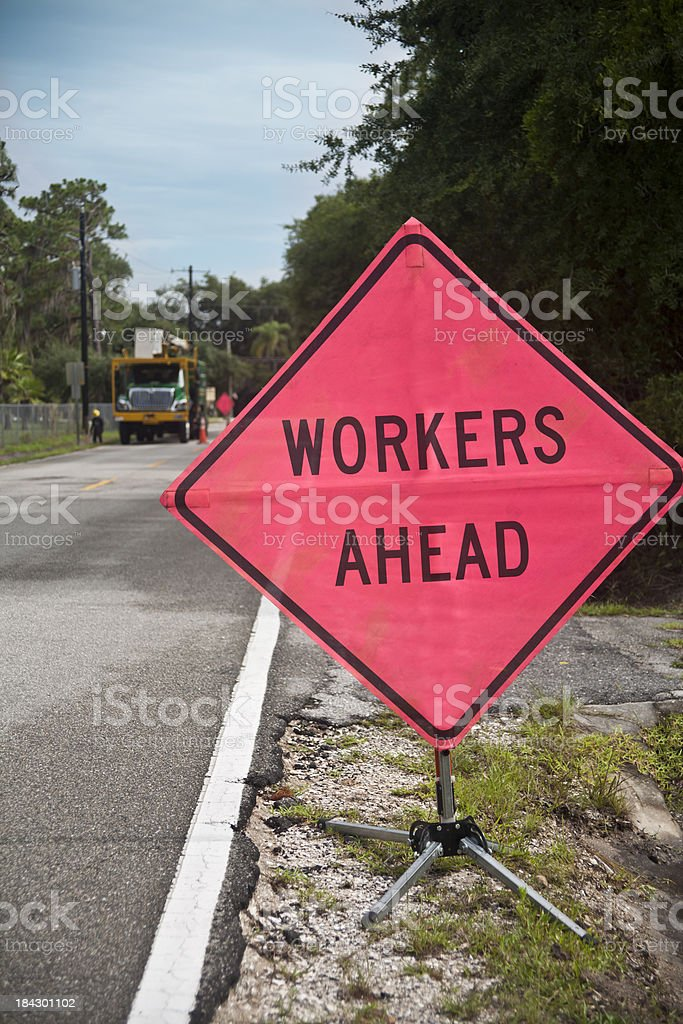 Workers Ahead Traffic Sign royalty-free stock photo