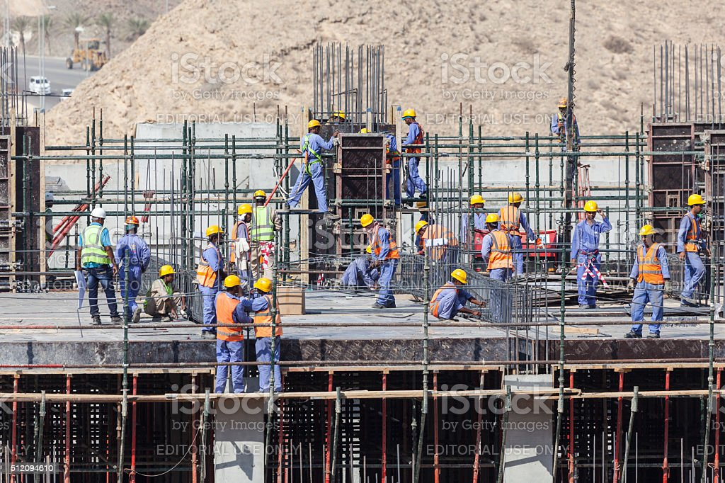 Workers at a construction site stock photo