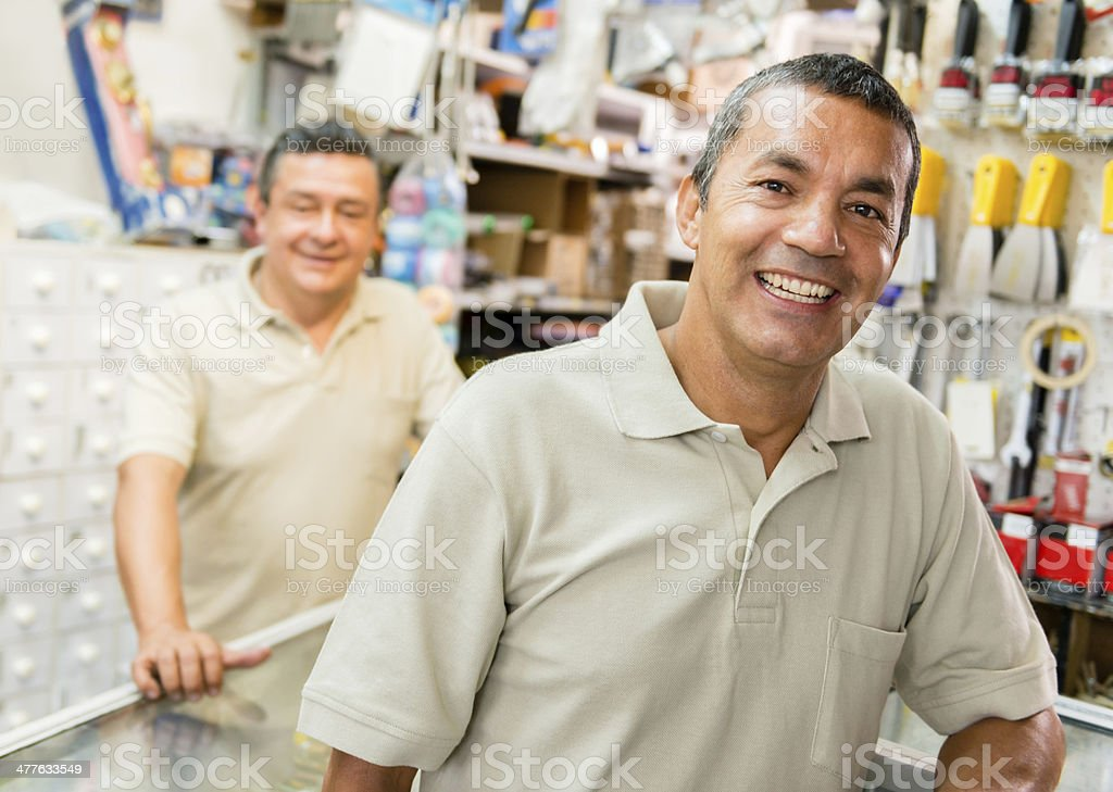 Workers at a hardware store stock photo