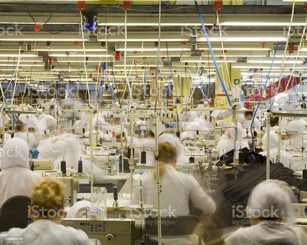 Workers at a textile factory stock photo