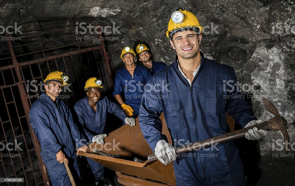 Workers at the mine royalty-free stock photo