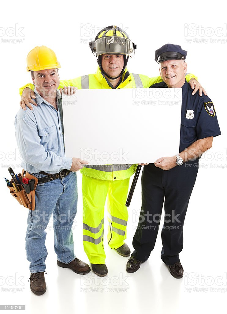 Workers Carrying Sign royalty-free stock photo