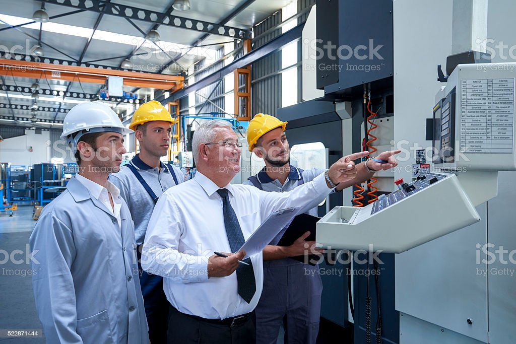 Workers checking products stock photo