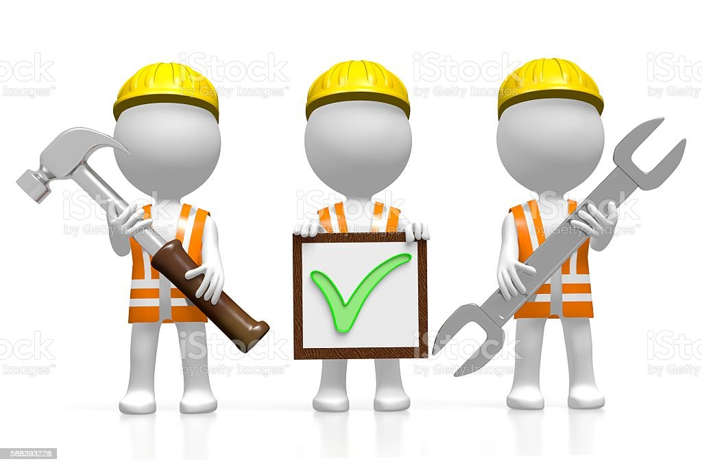 3D workers - checkmark concept stock photo