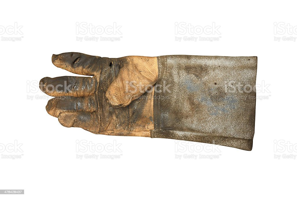 Worker's dirty leather gloves on white background royalty-free stock photo