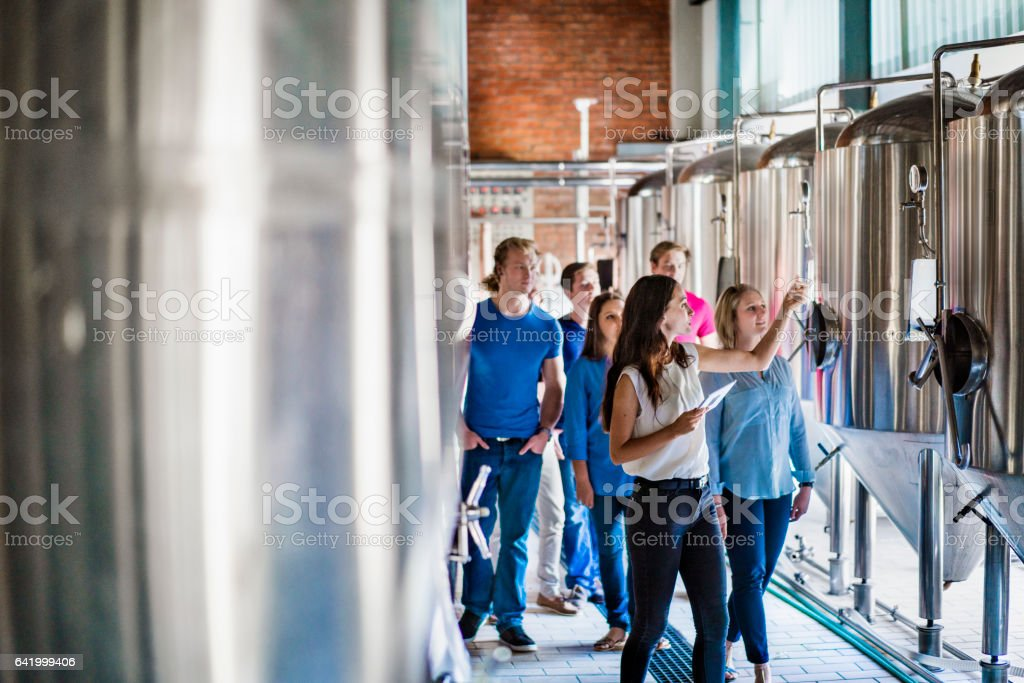 Workers discussing over vats in brewery stock photo