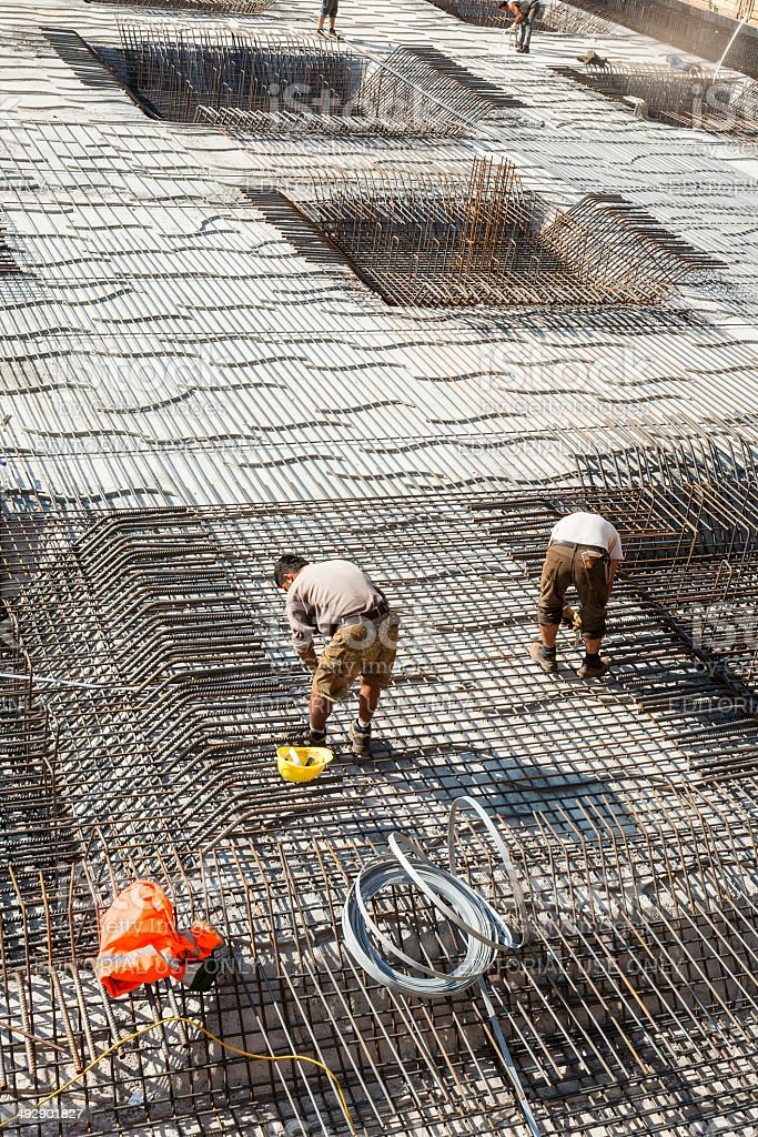 workers do the steel bars construction stock photo