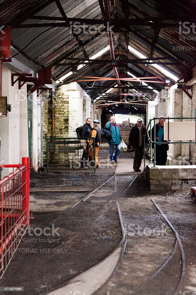 Workers exit Big Pit royalty-free stock photo