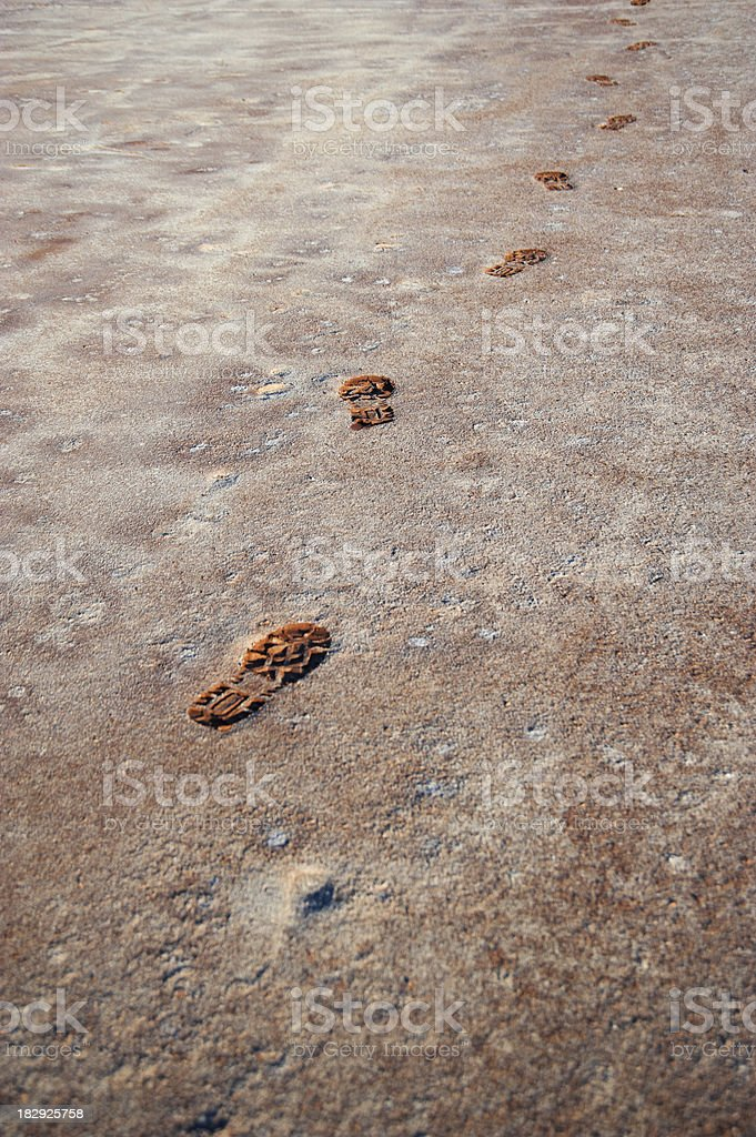 workers foot prints stock photo