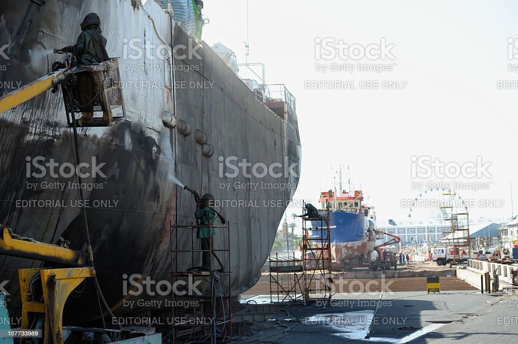 Workers in Cape Town Shipyard stock photo