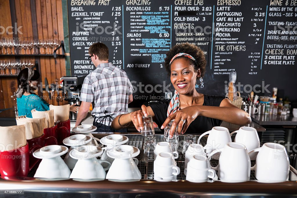 Workers in coffee shop royalty-free stock photo