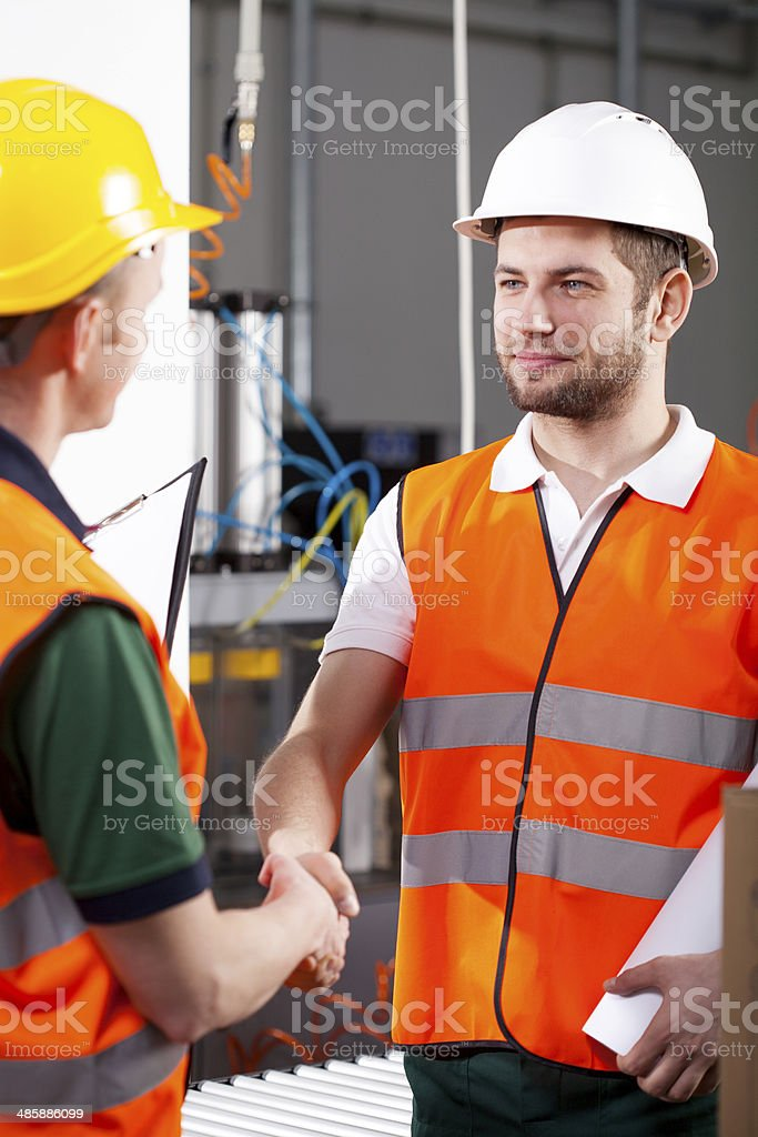 Workers in factory stock photo