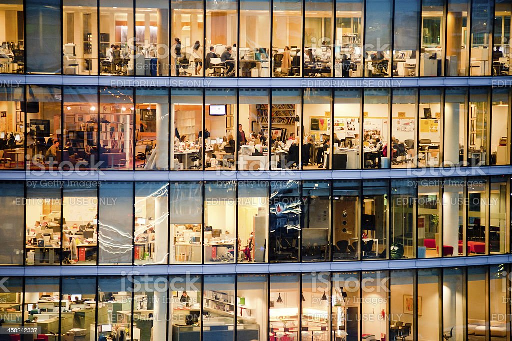Workers in modern office building stock photo