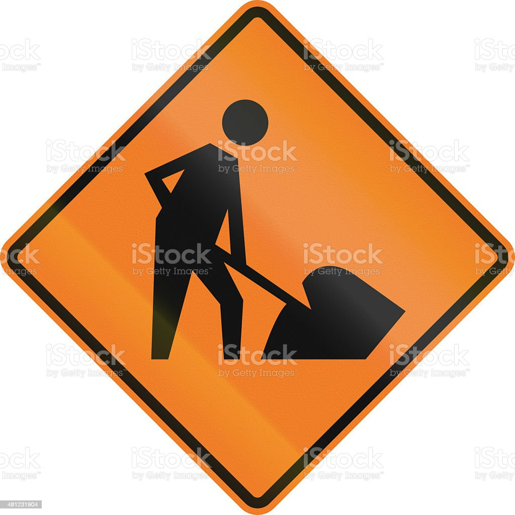 Workers In Road Ahead in Canada stock photo