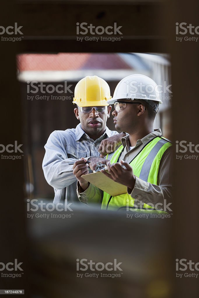 Workers in warehouse stock photo