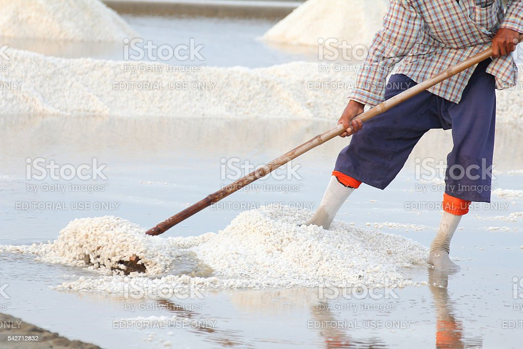 Workers lap salt stock photo