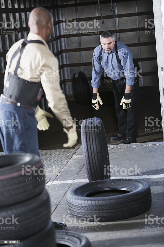Workers loading truck royalty-free stock photo