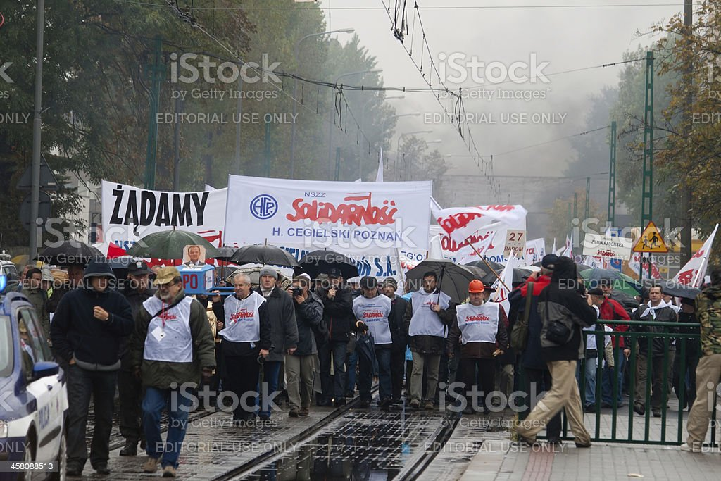 Workers manifestation in Poznan, Poland royalty-free stock photo