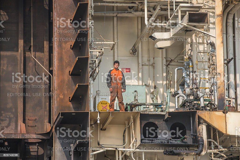 workers of Bangladeshi ship breaking yard stock photo