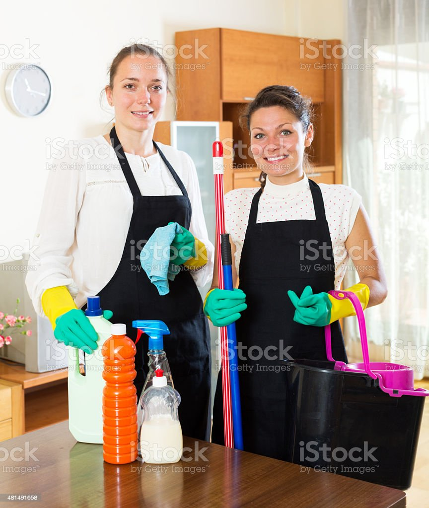 workers of cleaning company stock photo