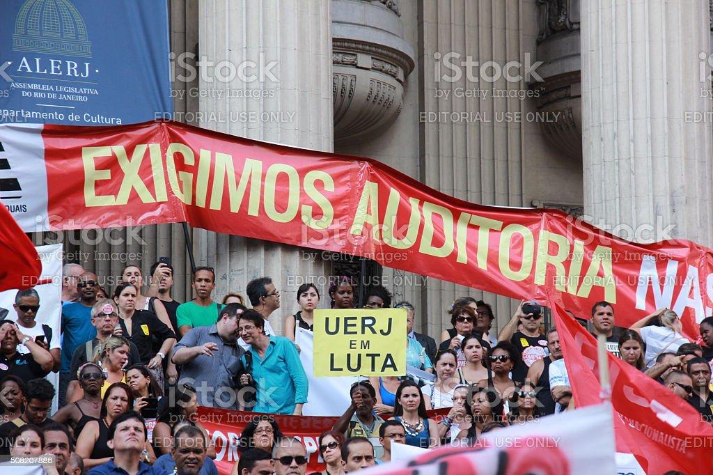 Workers of Rio de Janeiro protesting against Governor stock photo