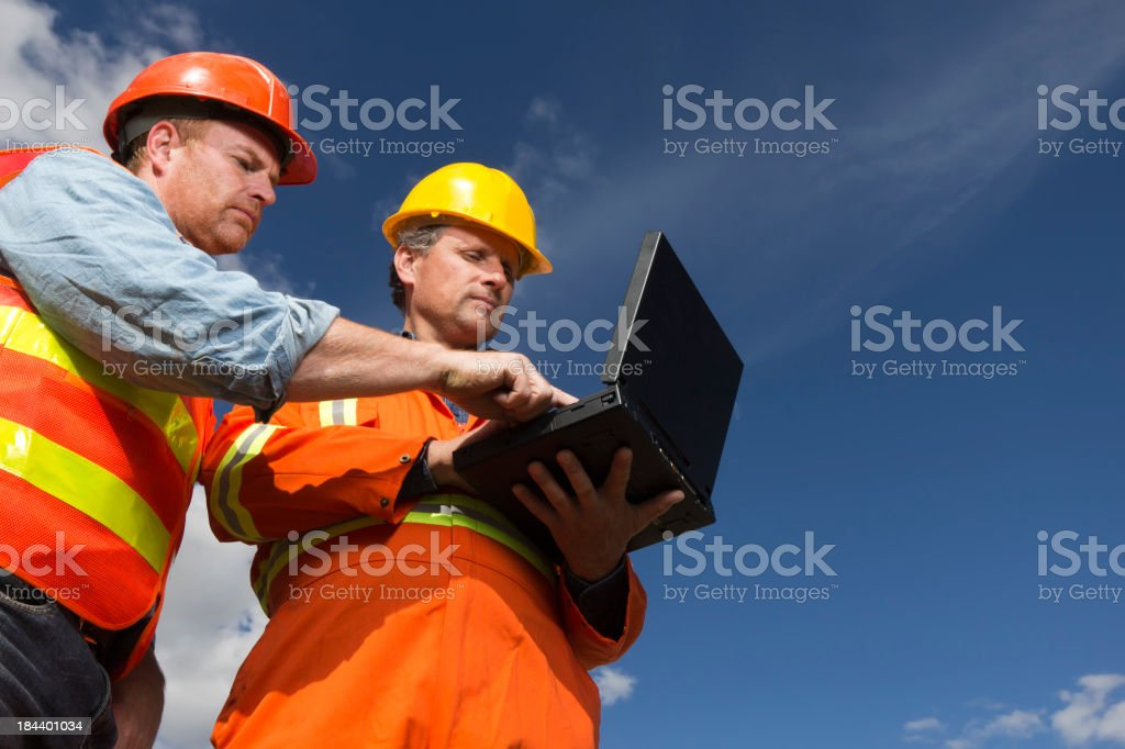 Workers on a Computer royalty-free stock photo