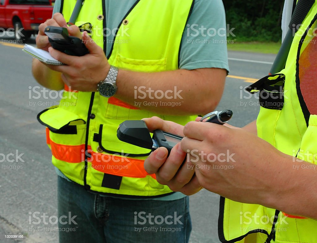 Workers Recoding data stock photo