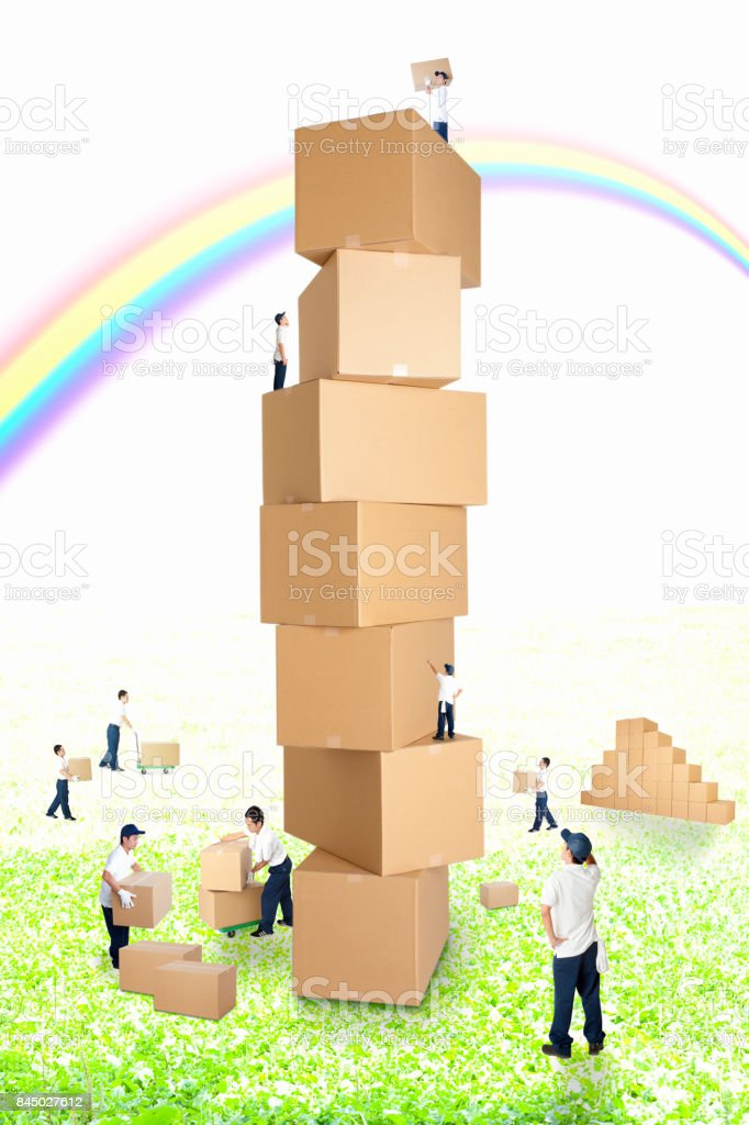 Workers stacked cardboard stock photo