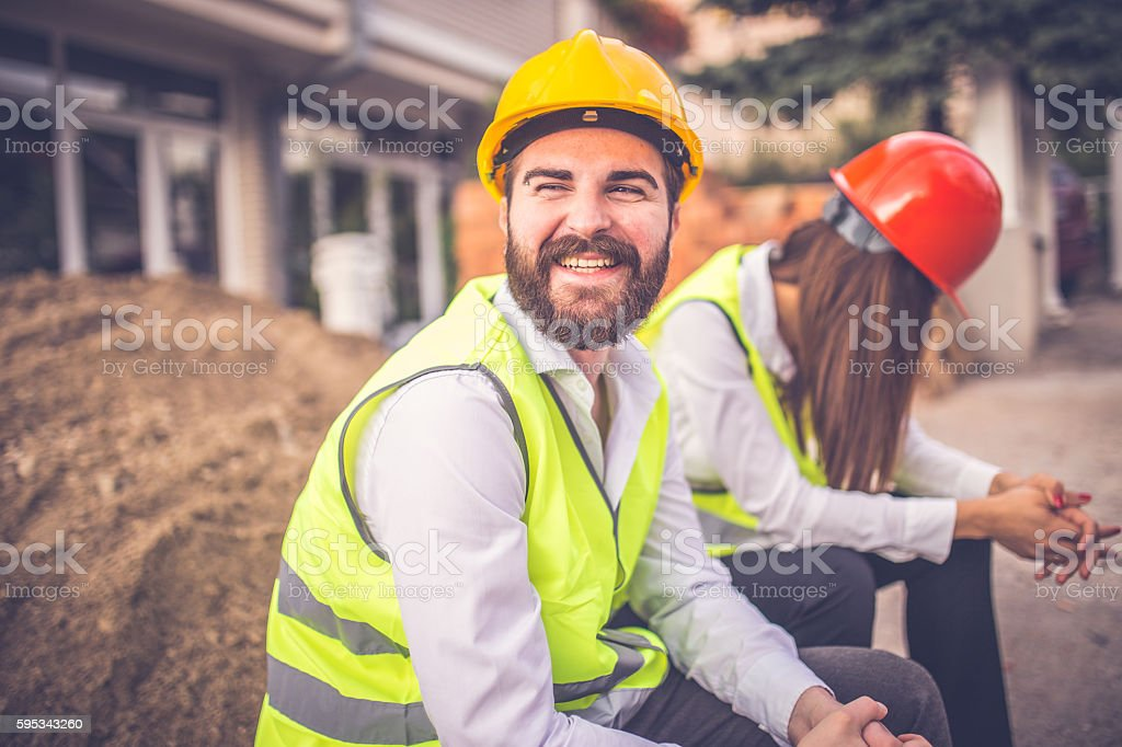 Workers taking a break stock photo