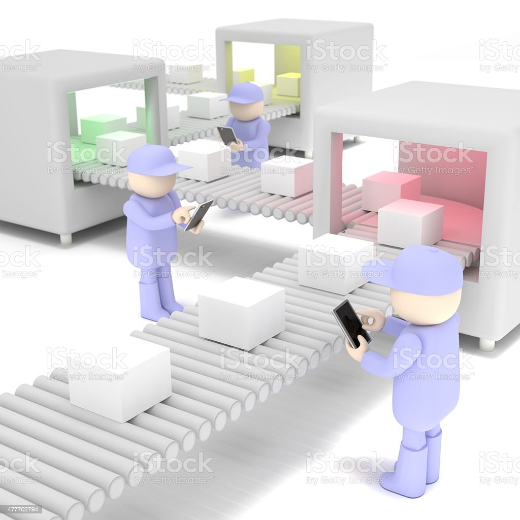Workers that use the tablet stock photo