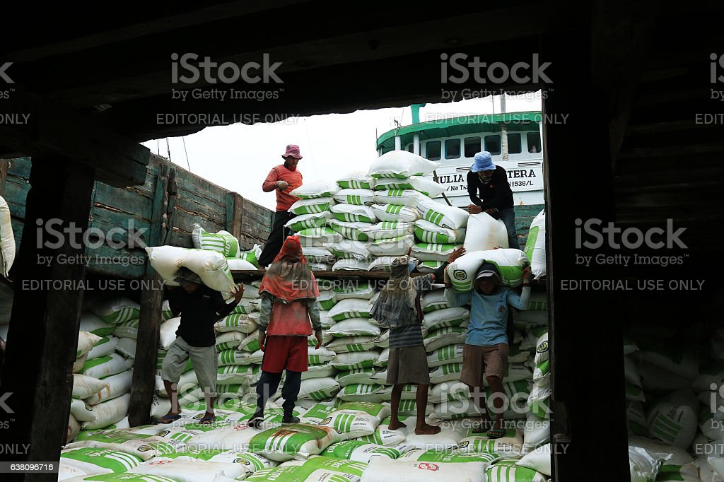 Workers transporting fertilizer to the boathouse. stock photo