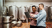 Workers using laptop in brewing plant