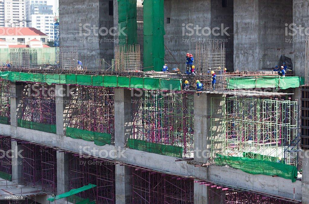 Рабочие работы структура в строительной площадке, Стоковые фото Стоковая фотография