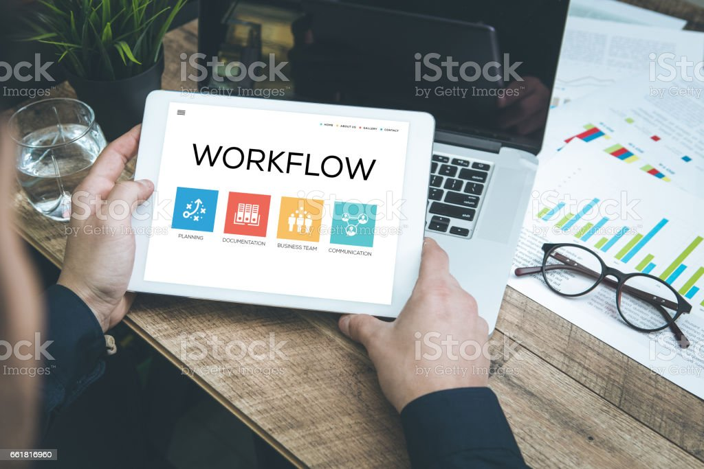 Workflow Concept on Tablet Pc Screen stock photo