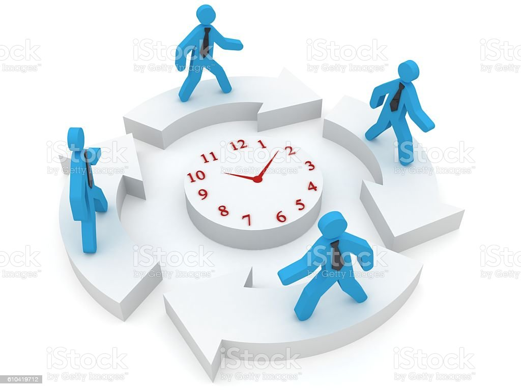 Workflow people working time clock concept stock photo
