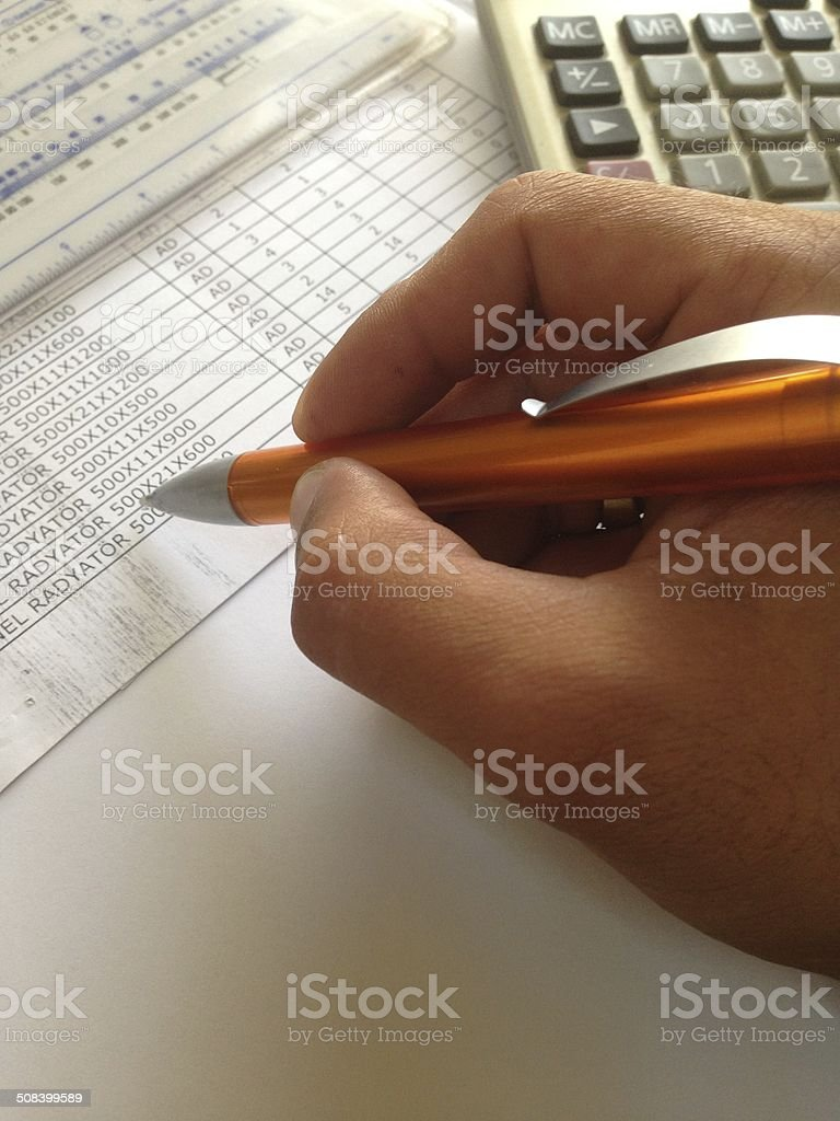 working about finance stock photo