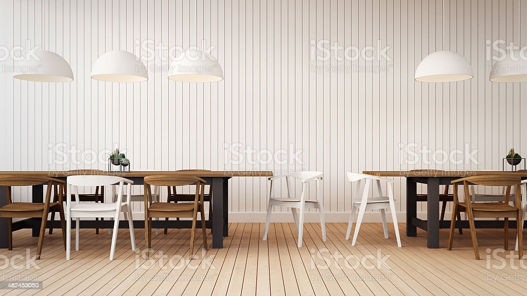 Working and Dining set with simple wall vector art illustration